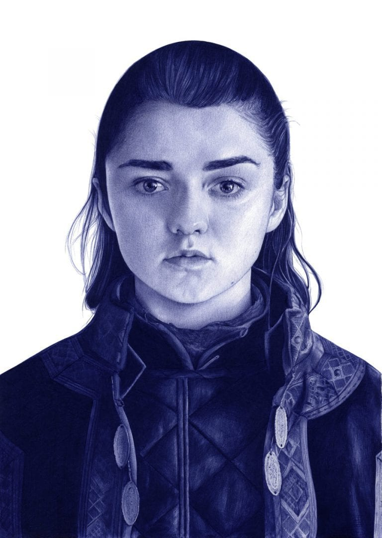 Ilustración a bolígrafo Bic de Maisie Williams como Arya Stark en Game of Thrones