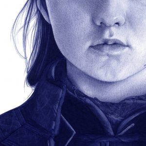 Detalle de una ilustración a bolígrafo Bic de Maisie Williams como Arya Stark en Game of Thrones