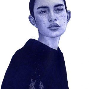 Ilustración realista a bolígrafo Bic azul de una chica con una casa en llamas en su interior