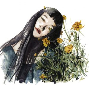 Ilustración en acuarela de una chica cubierta de flores amarillas