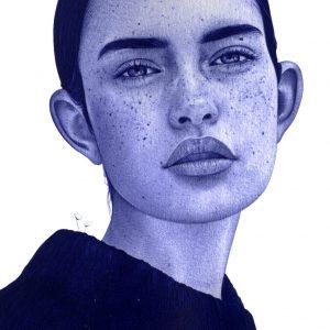 Detalle de una Ilustración realista a bolígrafo Bic azul de una chica con una casa en llamas en su interior