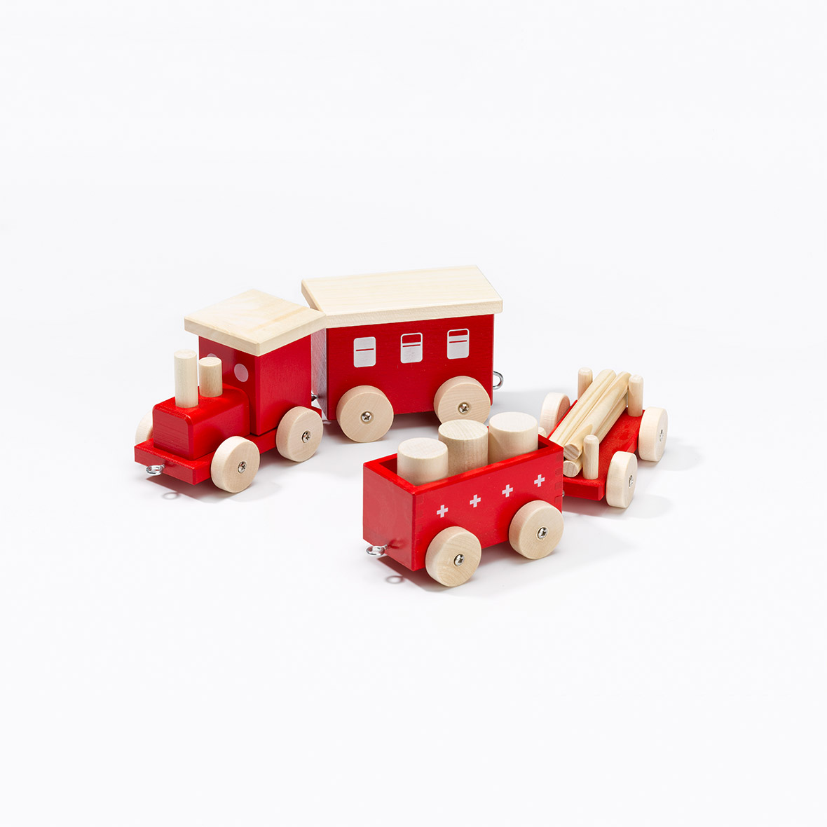 Kinder Holz-Eisenbahn Zügli, rot