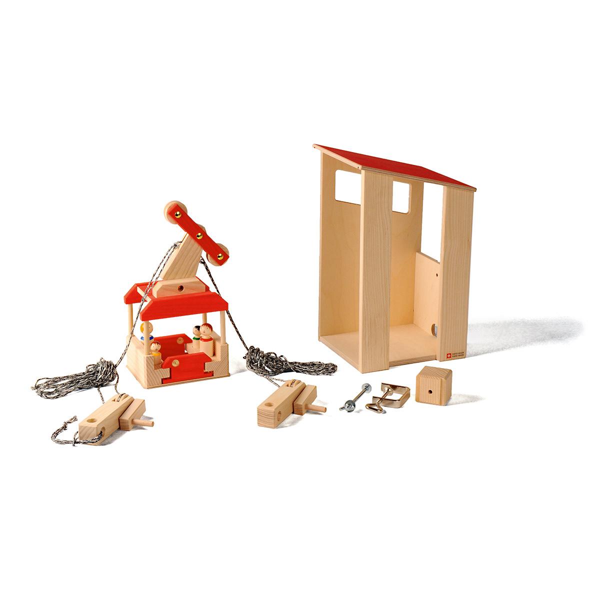 Kinderspielzeug Seilbahn-Set mit Station, Holz