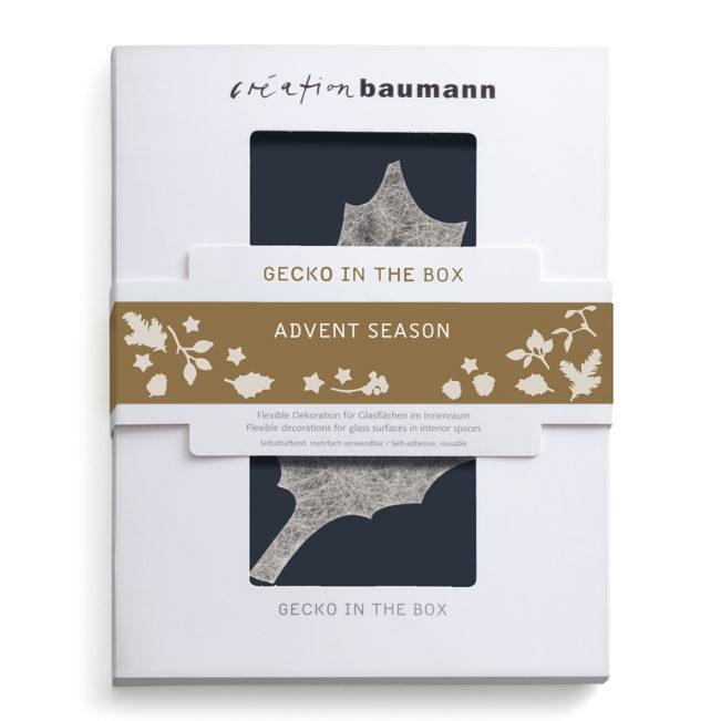 Fenstersticker Gecko in the Box Advent Season verpackt
