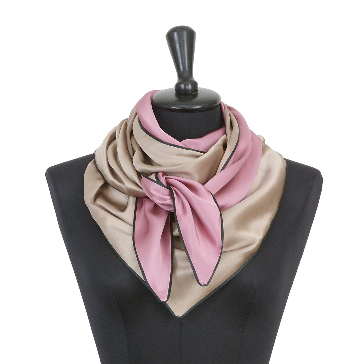 Souze Seidenschal Moitié-Carré, beige rosa