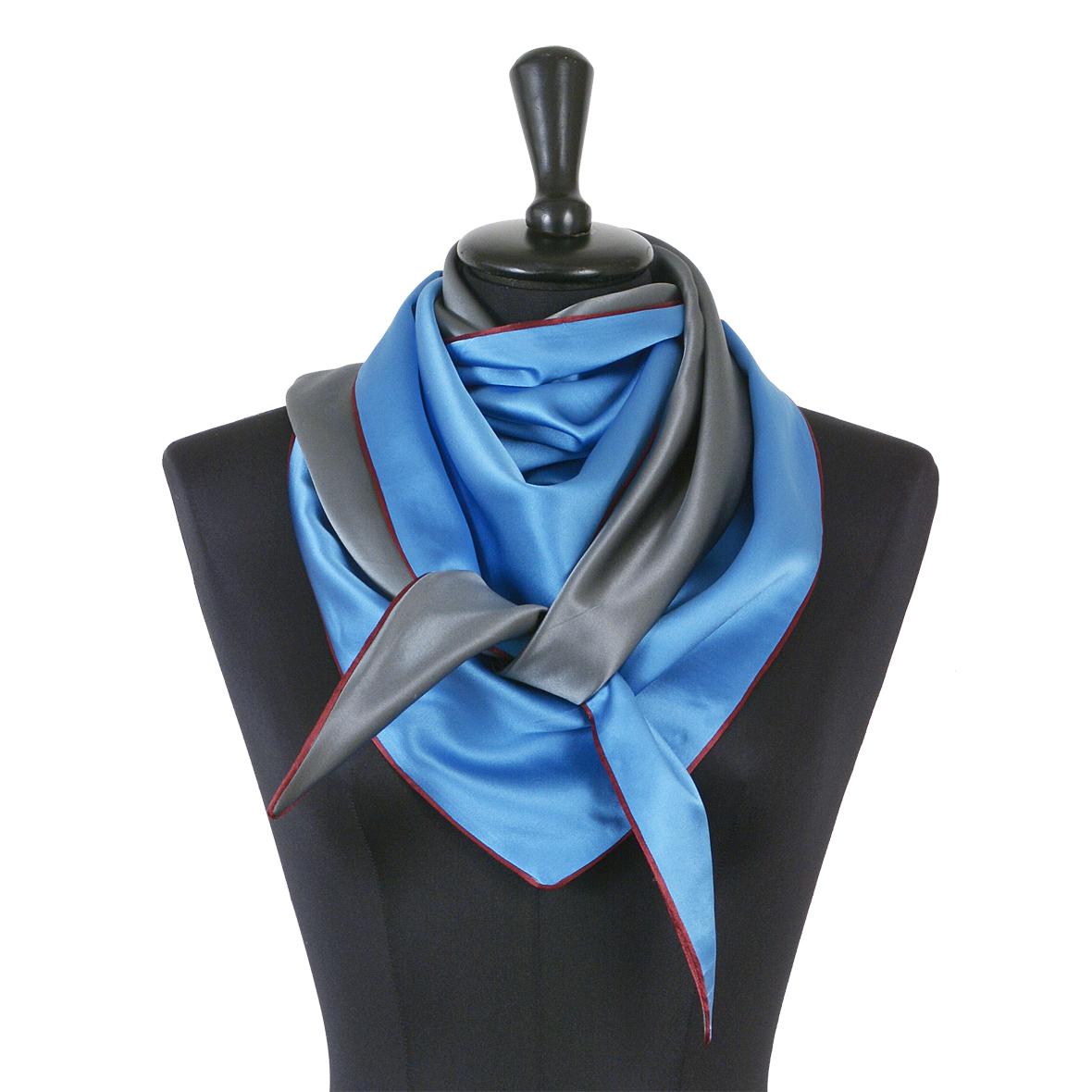 Souze Seidenschal Moitié-Carré, blau grau