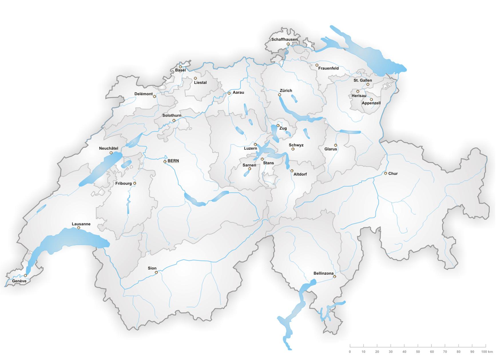 Einwohnerzahl nach Ballungszentren - Schweizer Karte