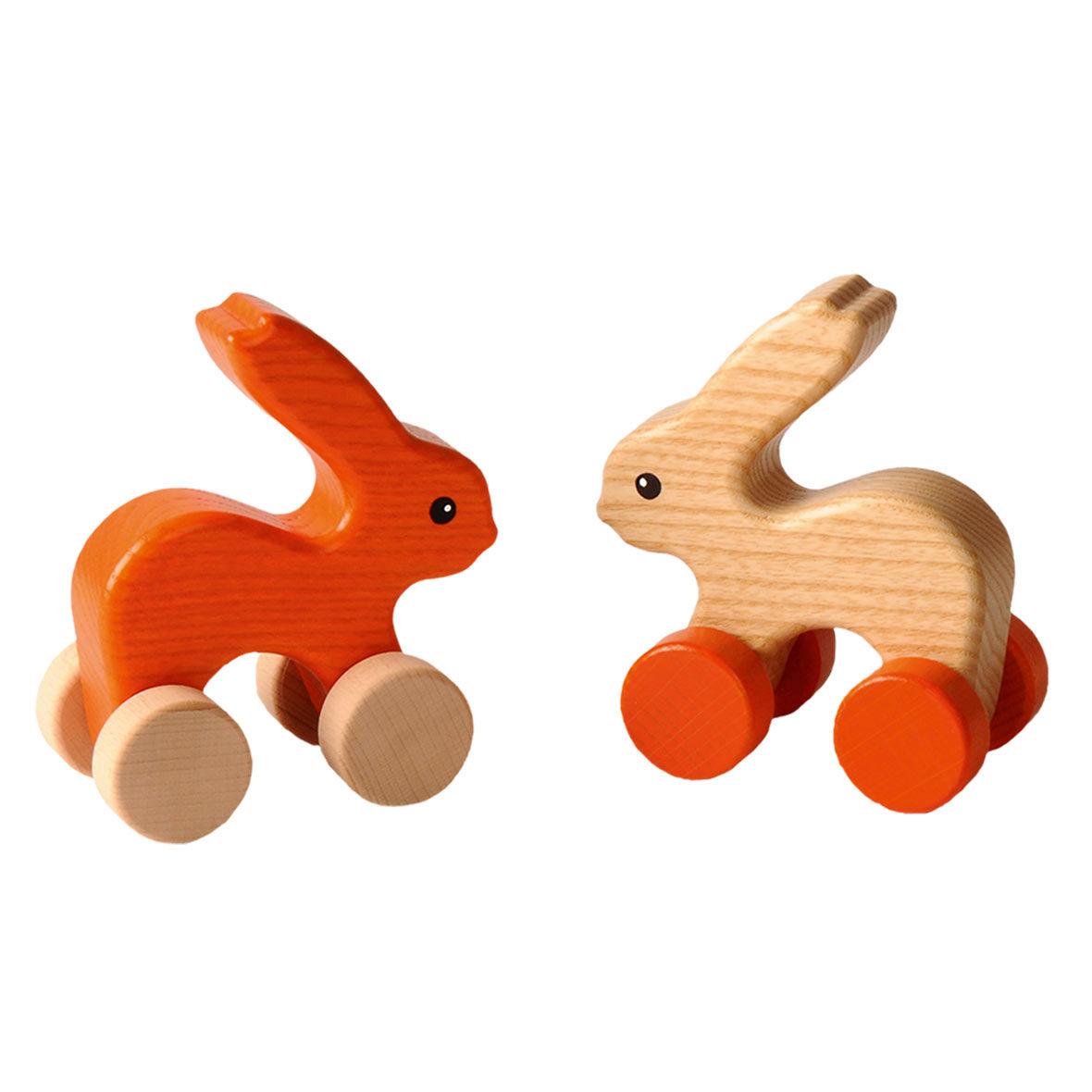 Hasen orange und natur auf Rollen