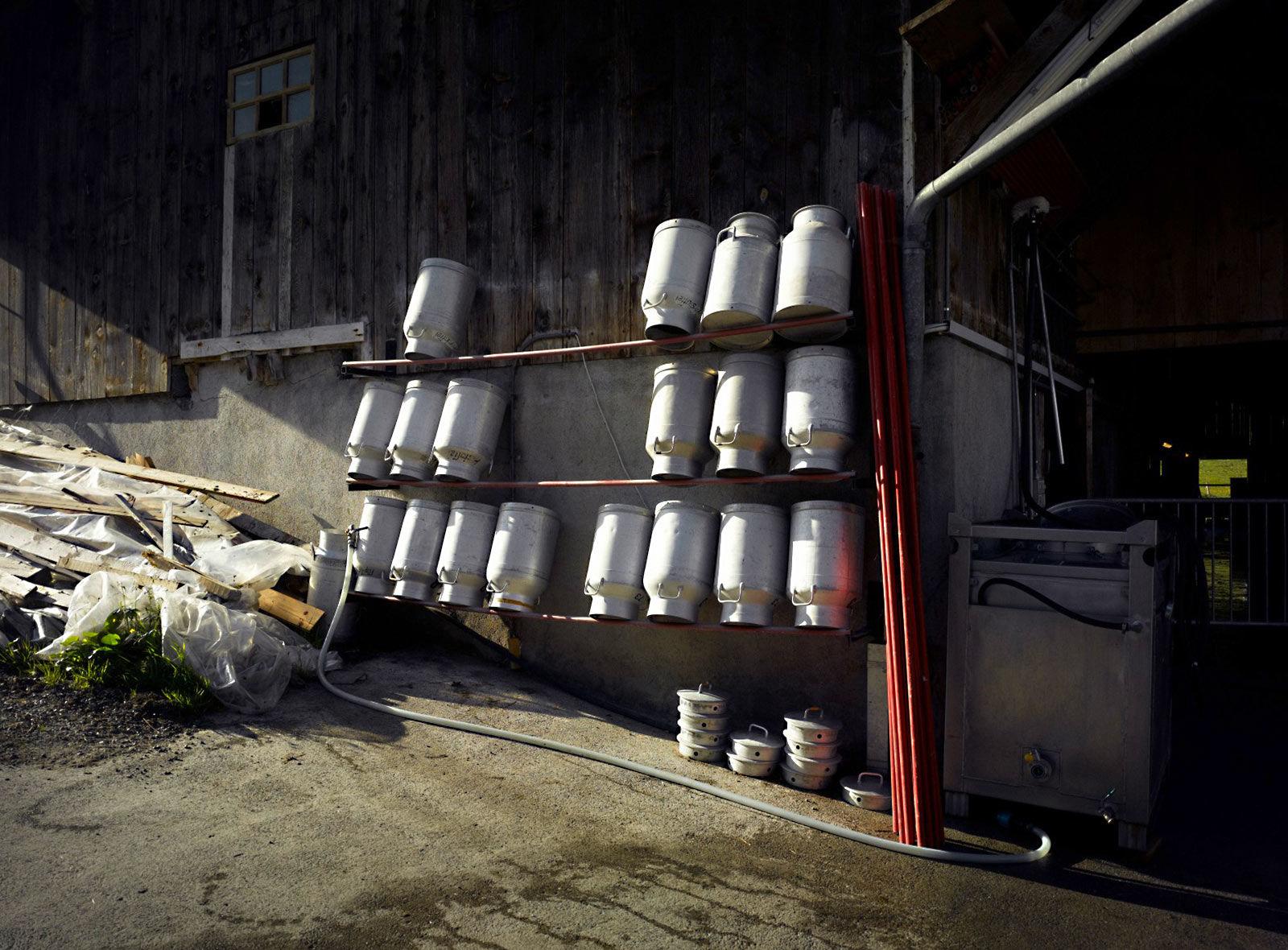 Gesäuberte Milchkannen