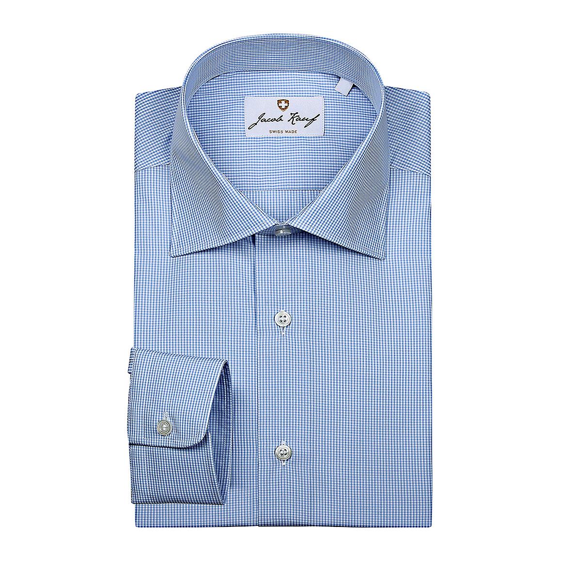 Schweizer Hemd Jacob Kauf, fein kariert, blau-weiss