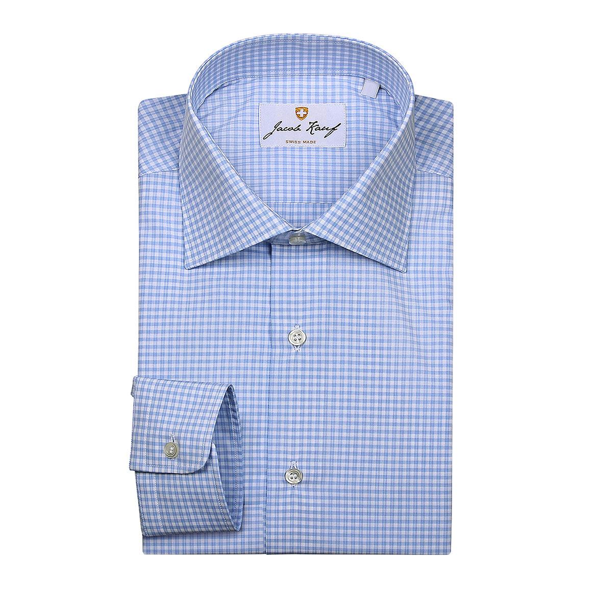 Schweizer Hemd Jacob Kauf, kariert, blau-weiss