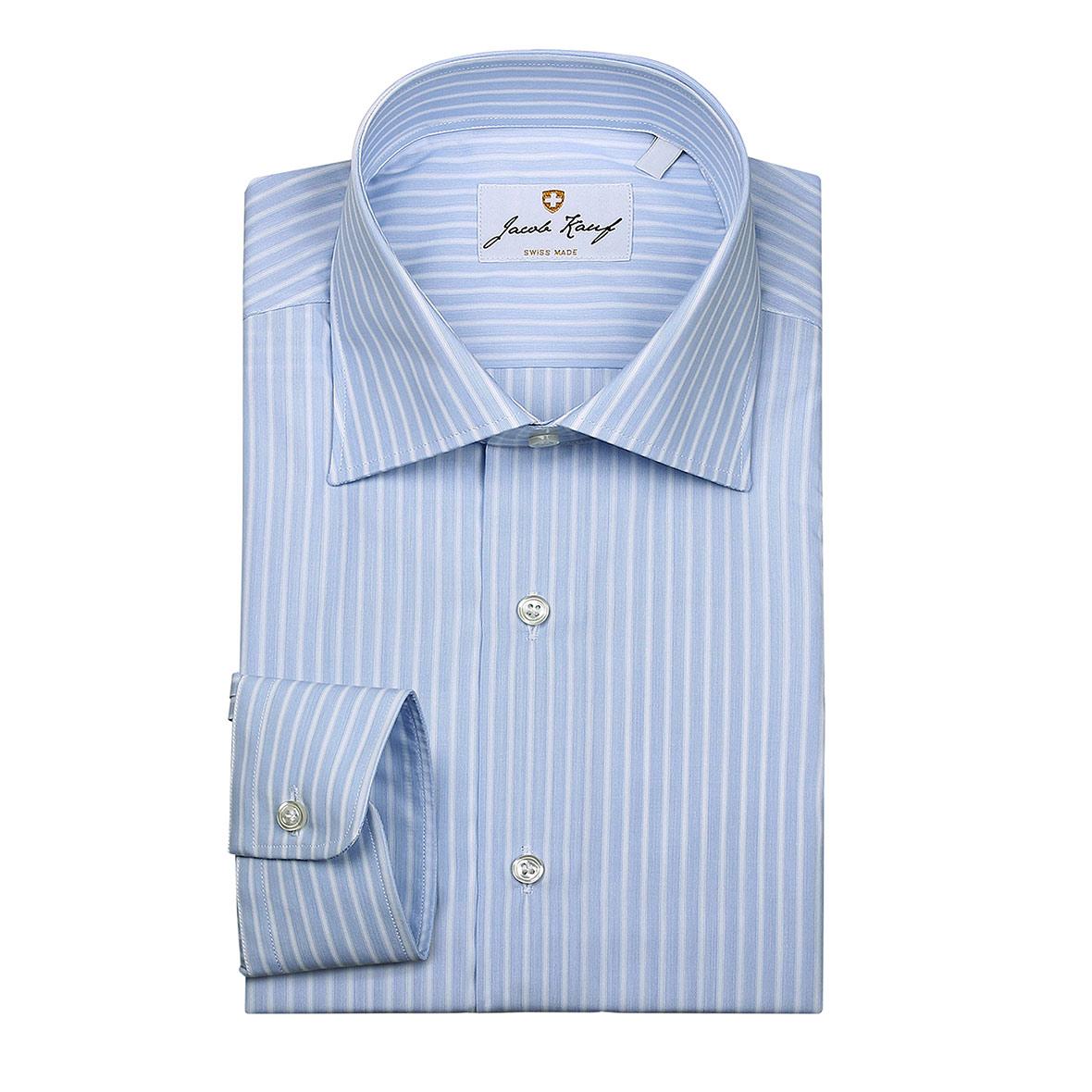Schweizer Hemd Jacob Kauf, breit gestreift, blau-weiss