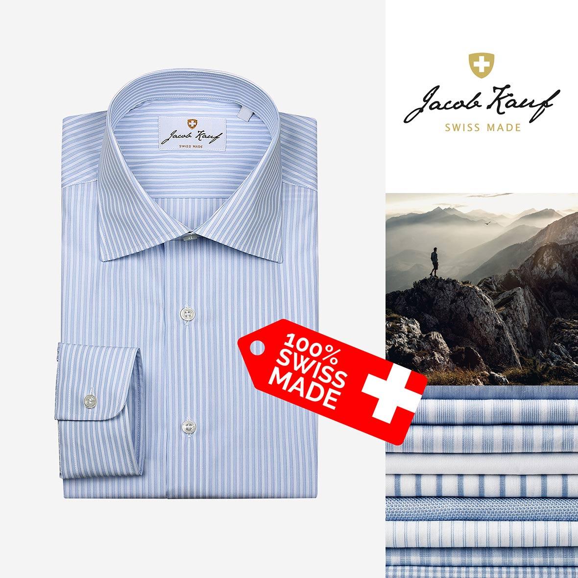 Schweizer Hemd Jacob Kauf, blau-weiss gestreift
