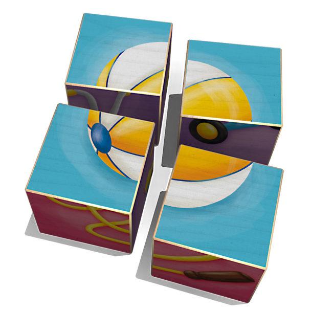 Würfelpuzzle Spielgeräte, vierteilig von Weizenkorn