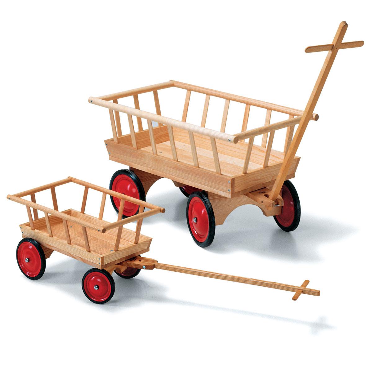 Leiterwagen aus Holz mit Vollgummibereifung