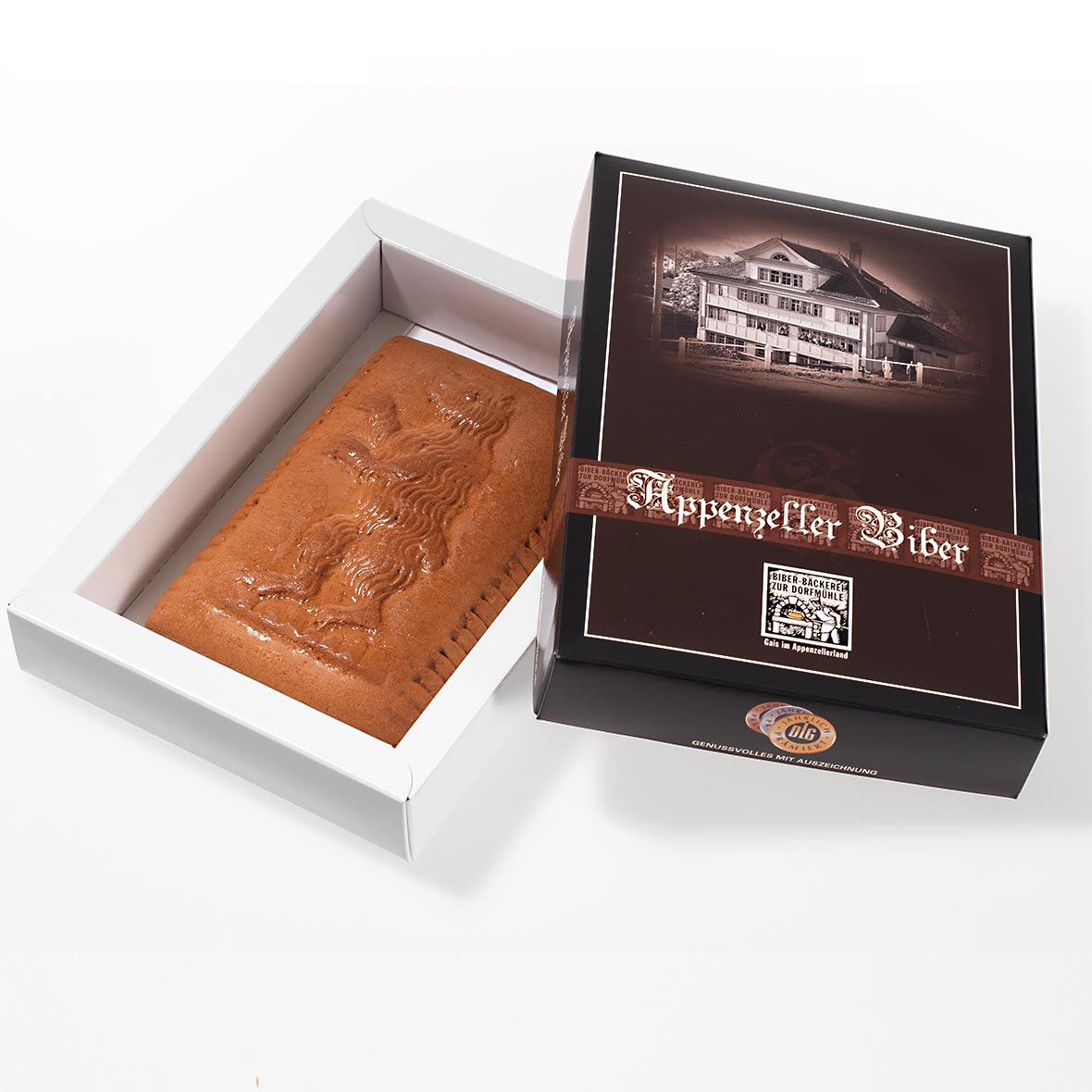 Appenzeller Biber mit Appenzeller Bär 180 g mit Schachtel aus der Biber Bäckerei