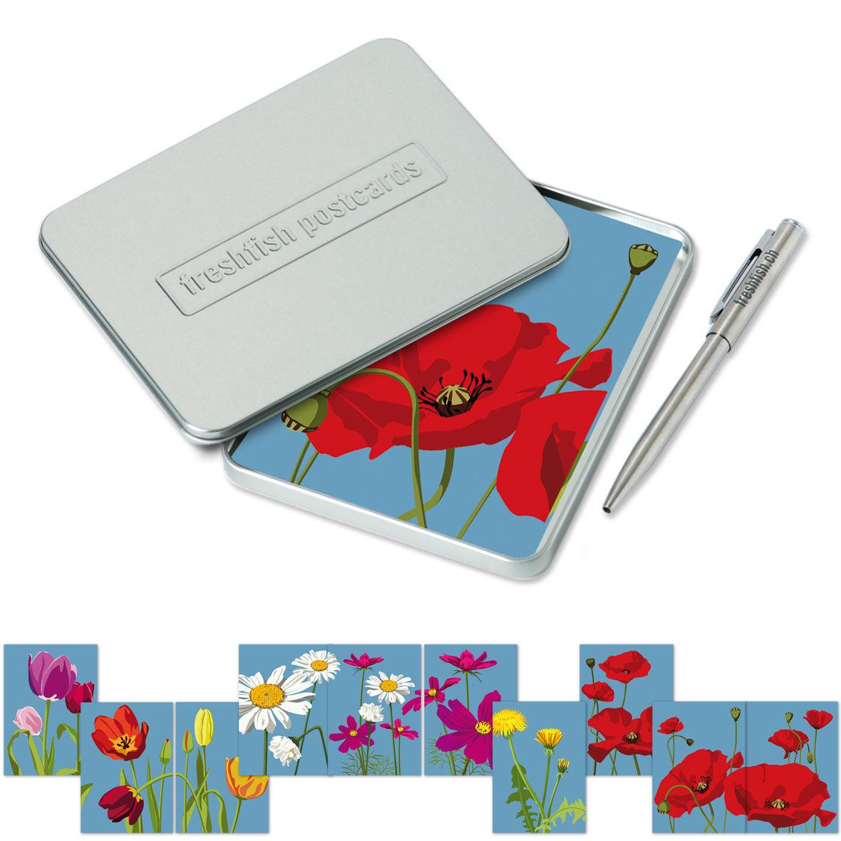 Freshfish Postcard-Box Power Flowers