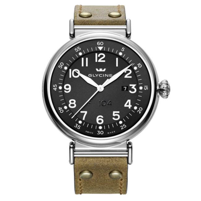 Uhr Airman F104 von Glycine, schwarz und hellbraun