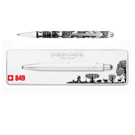 Kugelschreiber 849 Scherenschnitt - extraflaches Etui - schwarz-weiss