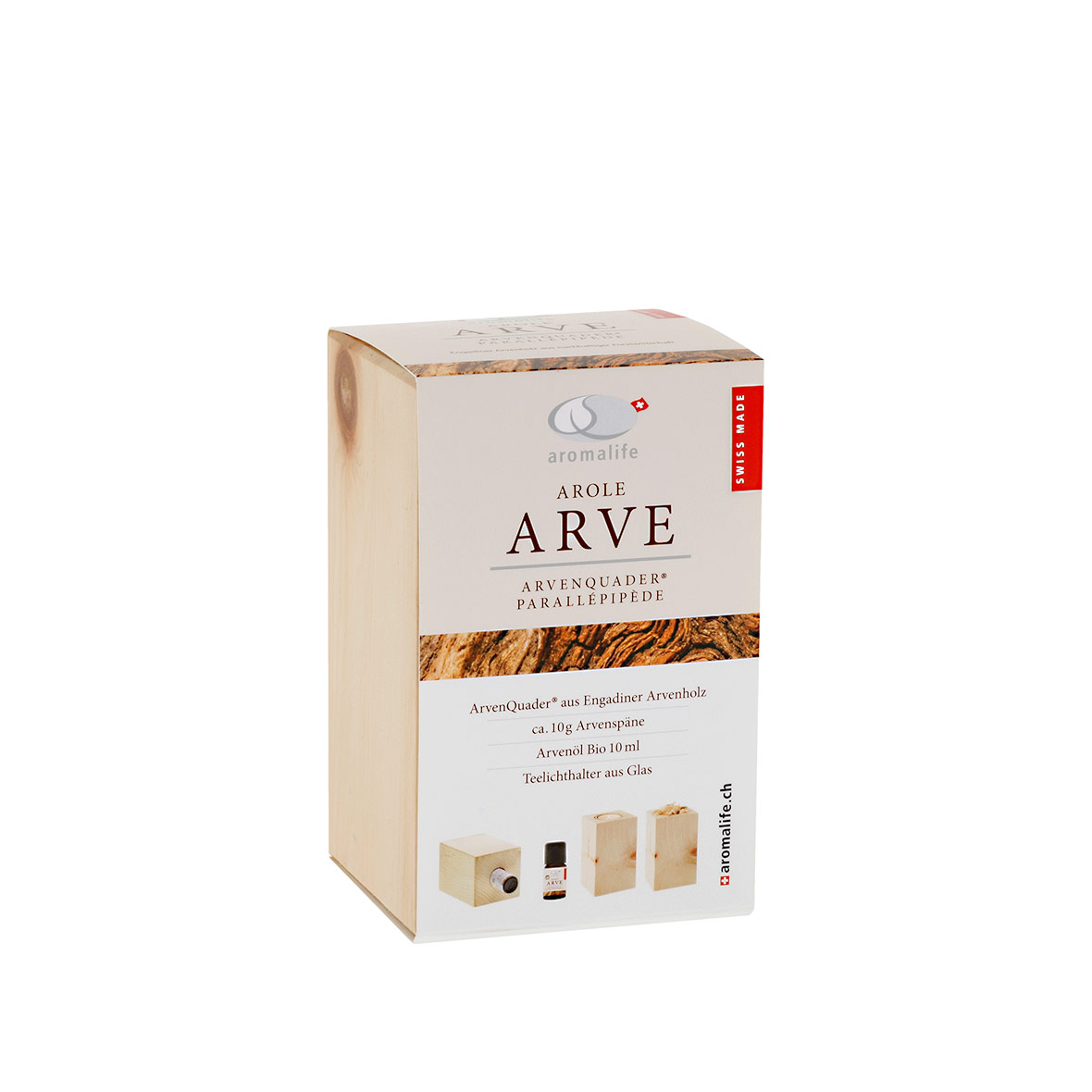 Arvenquader mit ätherischem Bio-Arvenöl von Aromalife, verpackt