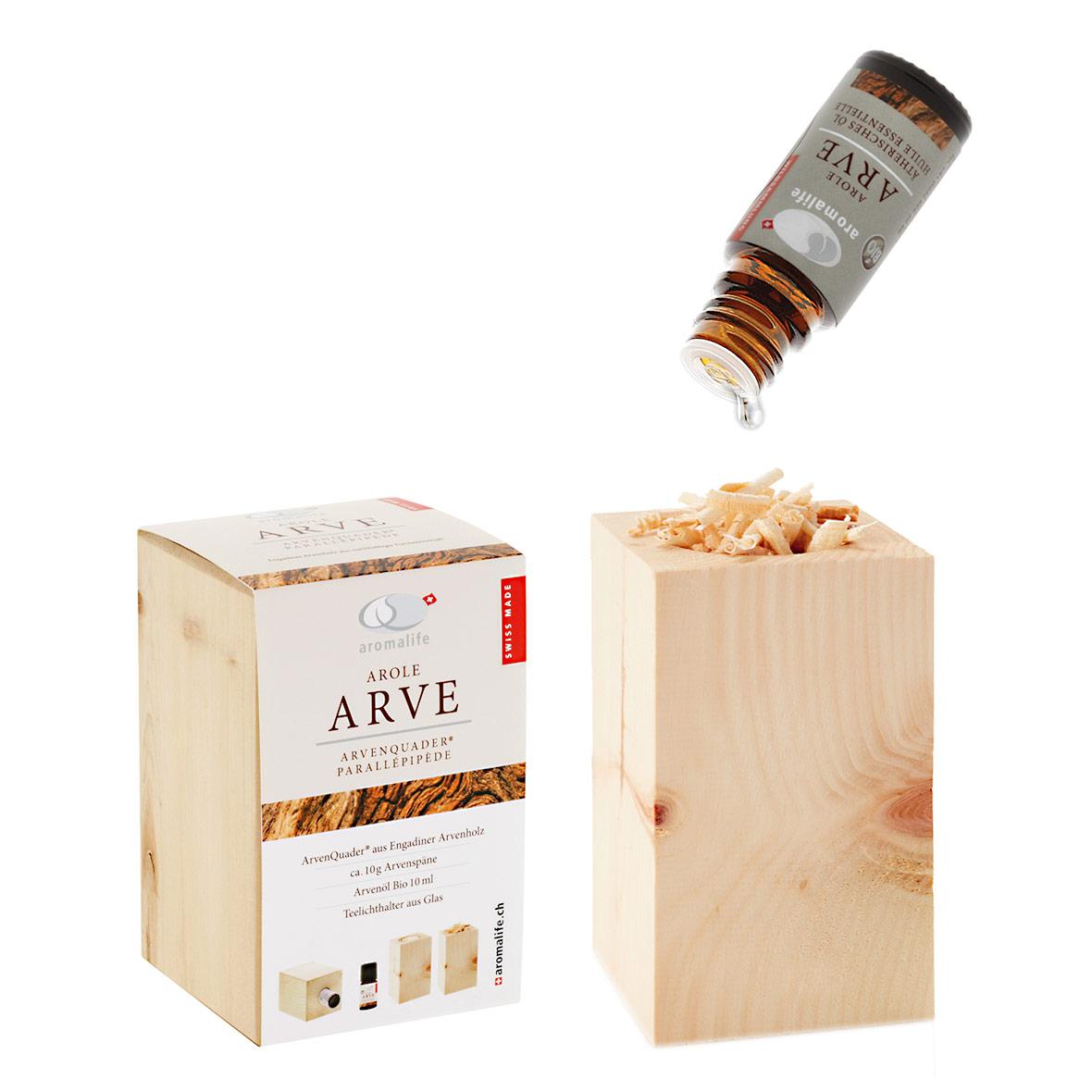 Arvenquader mit ätherischem Bio-Arvenöl von Aromalife