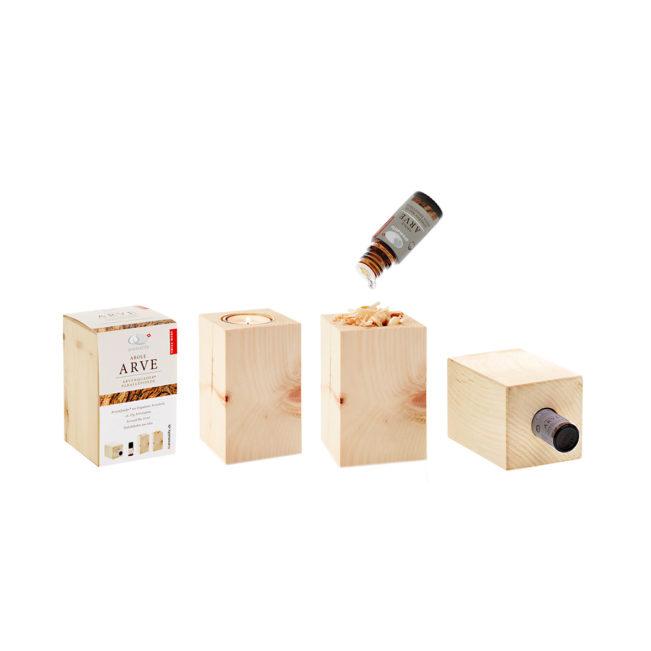 Arvenquader mit ätherischem Bio-Arvenöl und Teelichthalter von Aromalife