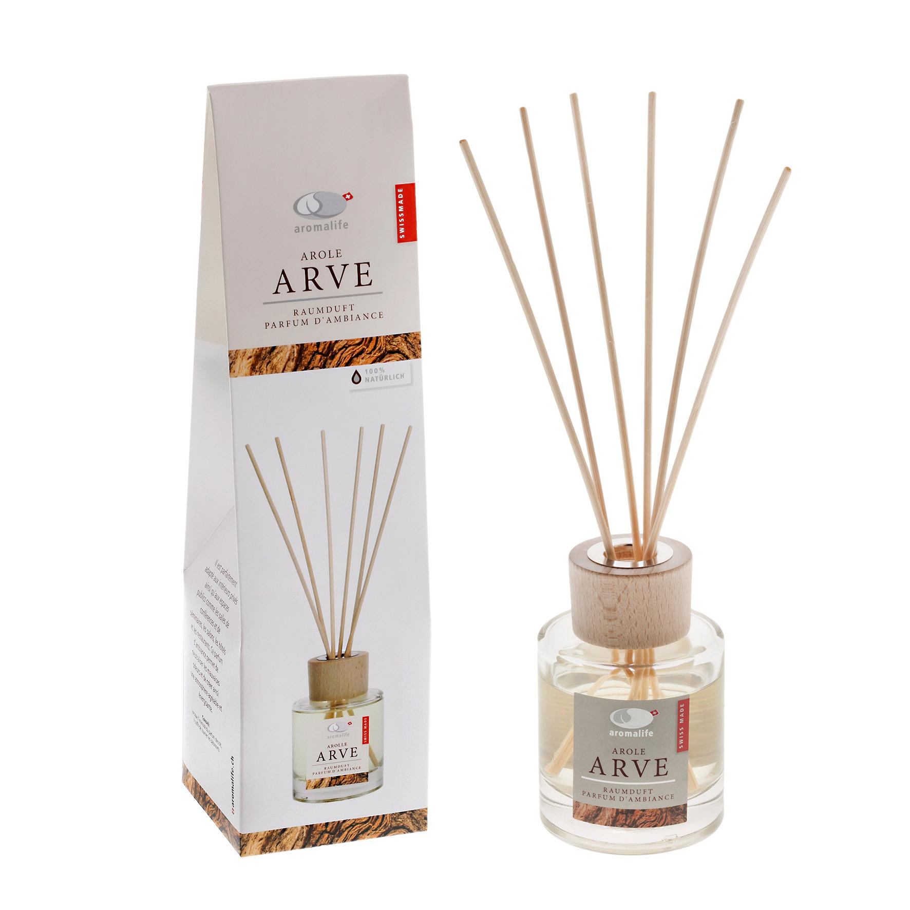 Arve-Raumduft mit Duftstäbchen von Aromalife