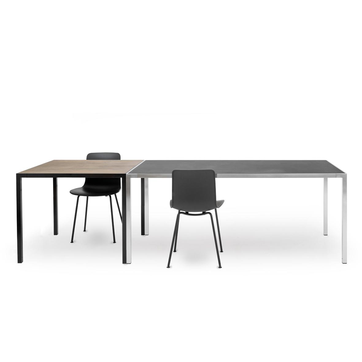 MF-Tische gross (Linol schwarz) und klein (Nussbaum furniert) von MF-System