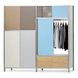 Doppelregal mit Garderobe von MF-System, farbig