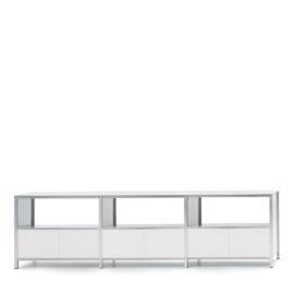 langes sideboard halboffen von mf system, weiss