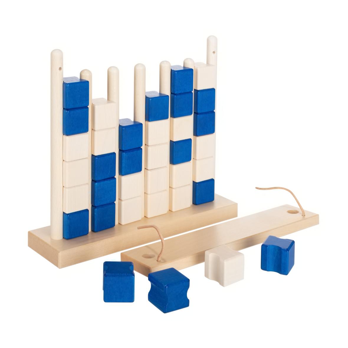 Vier-Gewinnt aus Holz von Ahorn Holz und Spiel, blau