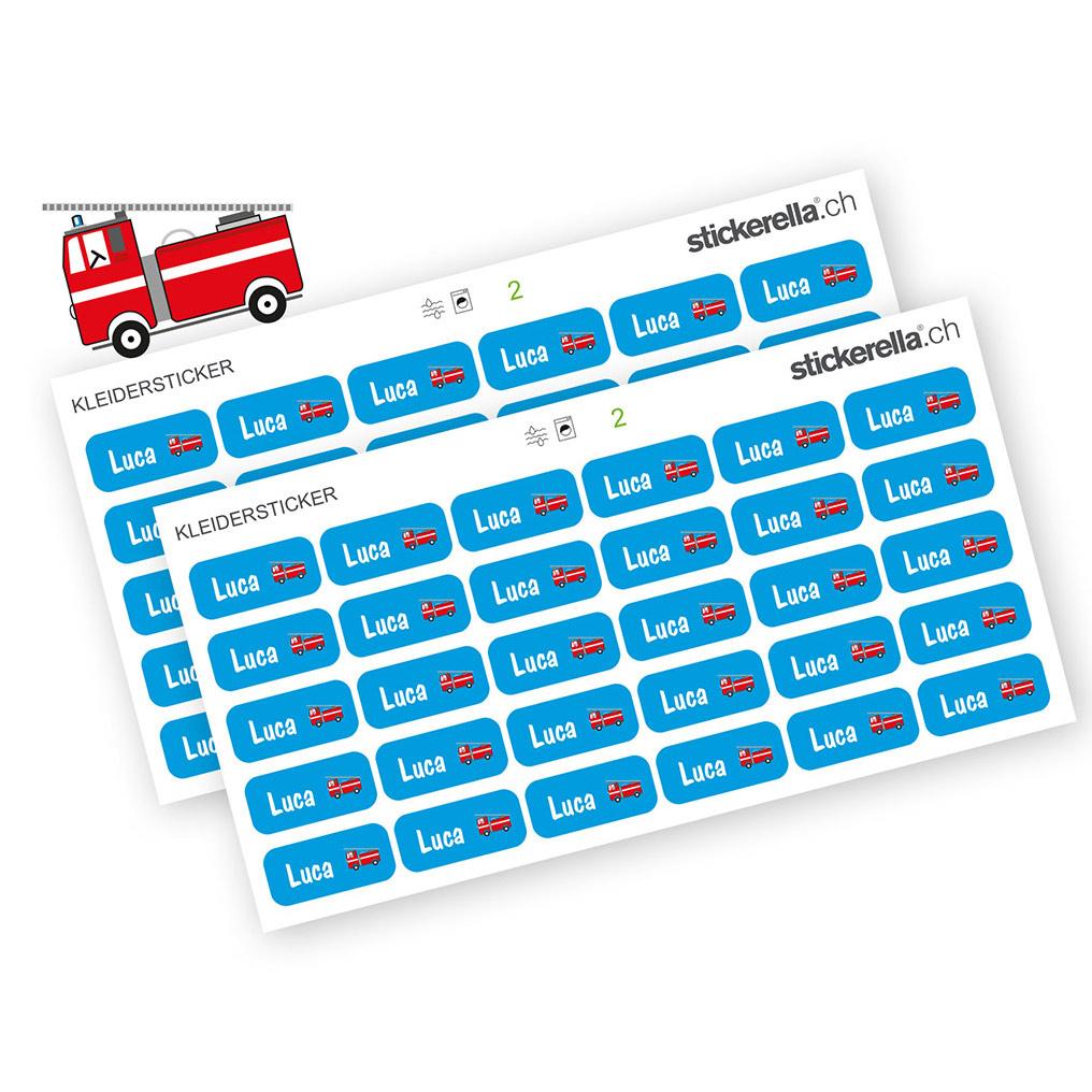 Namenssticker Feuerwehrauto für Kleider von Stickerella