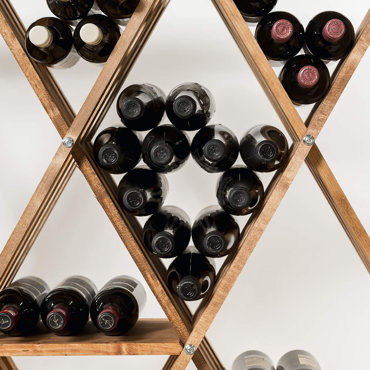 Weinflaschenregal Rhombus Frontansicht von Eicher Holzwaren
