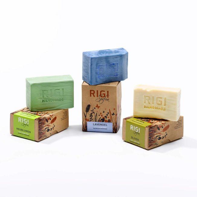 Rigi Trio Naturseife - Olive - Lavendel - Heublumen