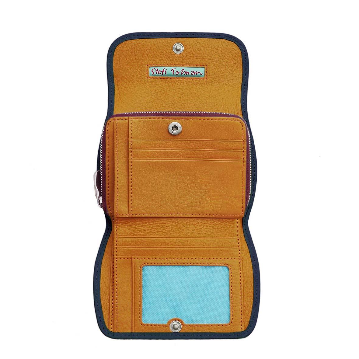 Portemonnaie CLAM 172 - Farbe rubin - innen orange - Bordüre marine
