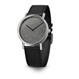 Armbanduhr Silver Leaf - Quarzuhrwerk aus Edelstahl - Zifferblatt Rhodium-Zinn - by Atelier Pierre Junod