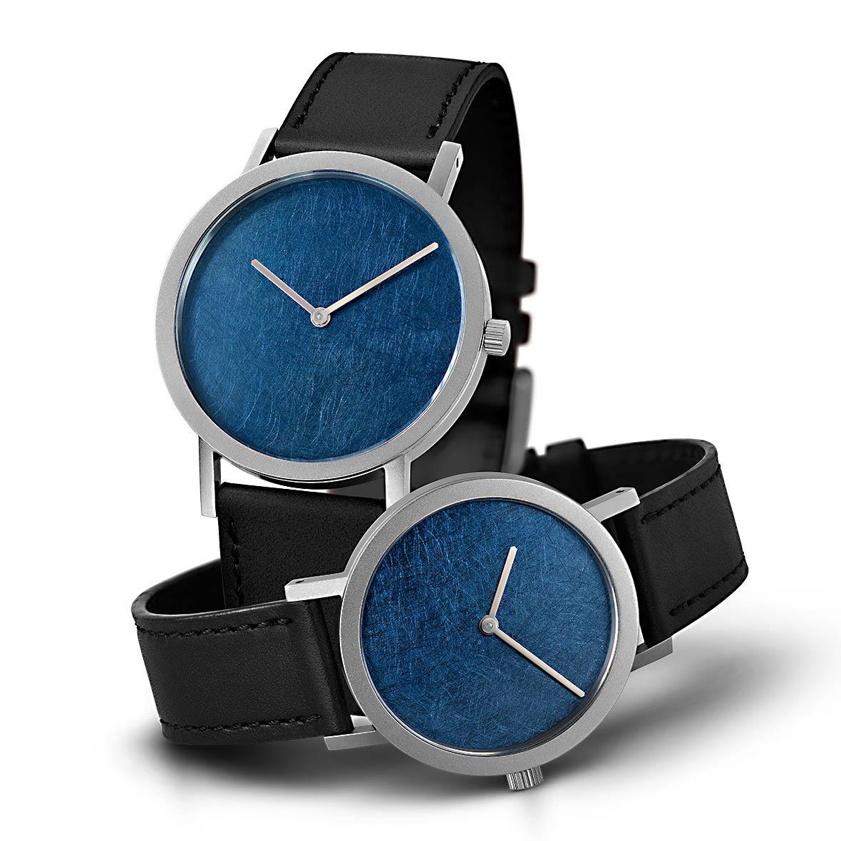 Armbanduhr Blue Leaf - Quarzuhrwerk aus Edelstahl - kratzfestes Saphirglas - by Atelier Pierre Junod