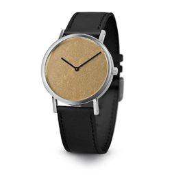 Armbanduhr Gold Leaf - Quarzuhrwerk aus Edelstahl - Zifferblatt Blattgold 22 Karat - by Atelier Pierre Junod