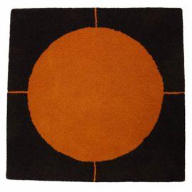 Jassteppich modern - Schnurwolle - dunkelbraun - orangegelb