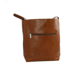 Handtasche - Olivenleder - Rückseite mit Fach