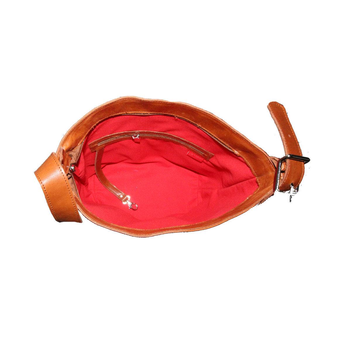 Handtasche - Olivenleder - Innenfutter rot - Innenfach