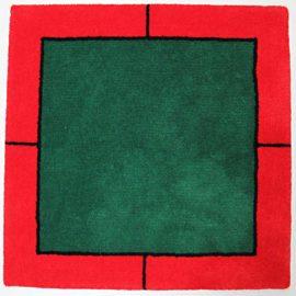 Klassischer Jassteppich - Schnurwolle - gruen - rot - schwarz