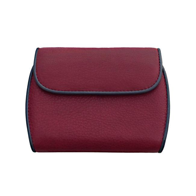 Portemonnaie CLAM 172 - Farbe rubin - Bordüre marine - innen orange