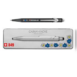 Kugelschreiber 849 Edelweiss schwarz - extraflaches Etui grau
