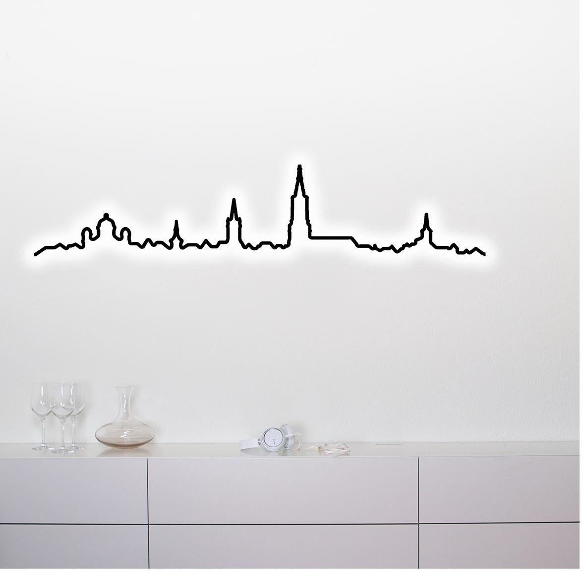 Wandleuchte Kontura City Chrom - Bern - beleuchtet
