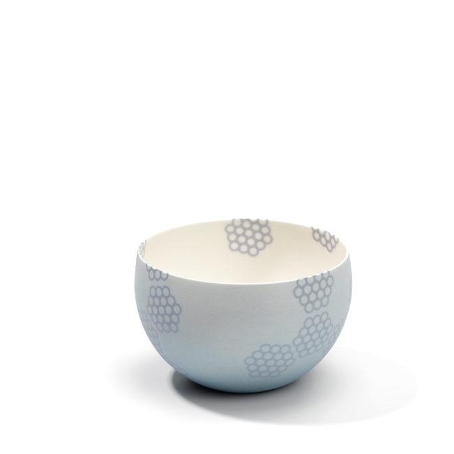 Kleine Porzellanschale - Wabenmuster - hellblau - grau