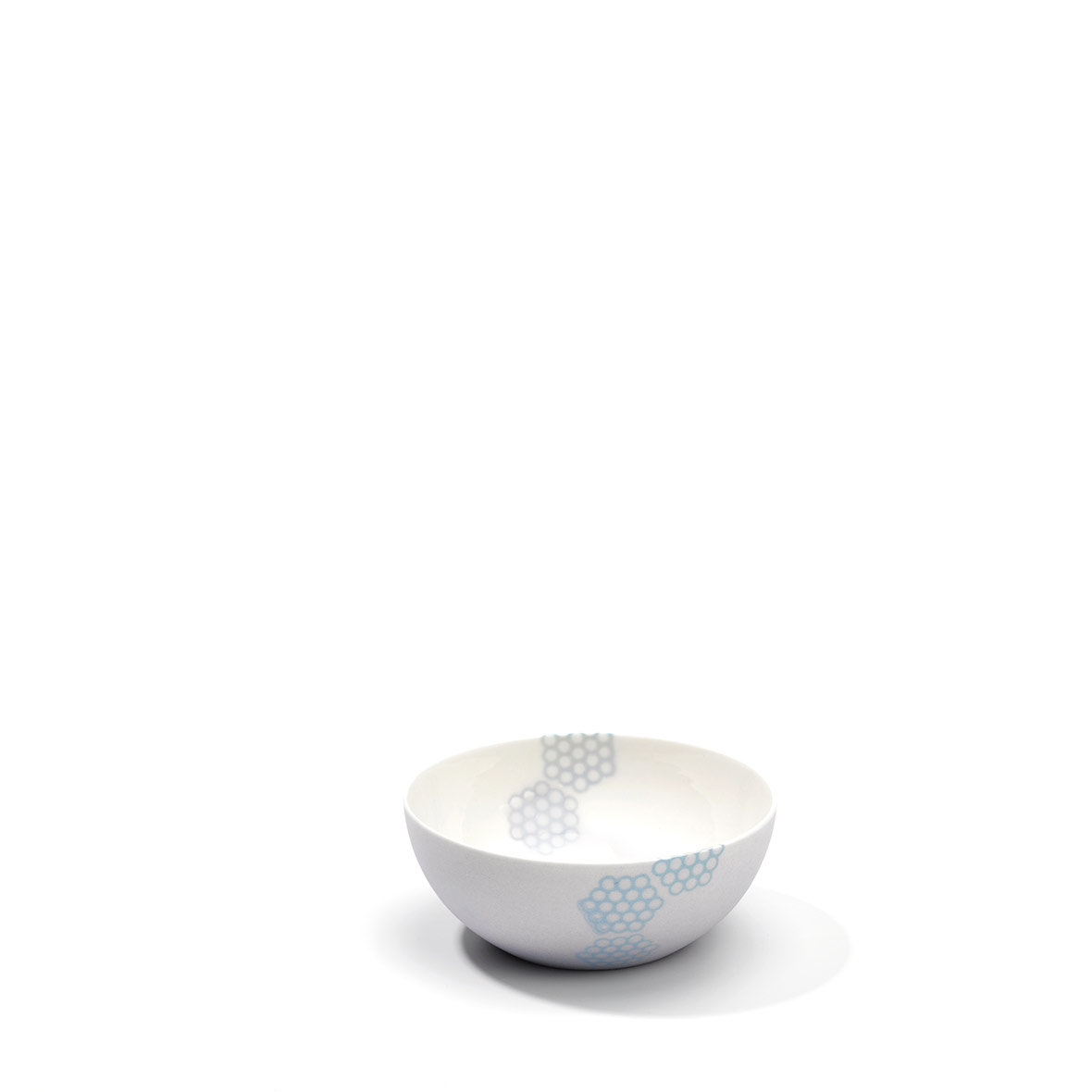 Kleine Teeschale - Porzellan - Wabenmuster - hellblau - helllila - grau