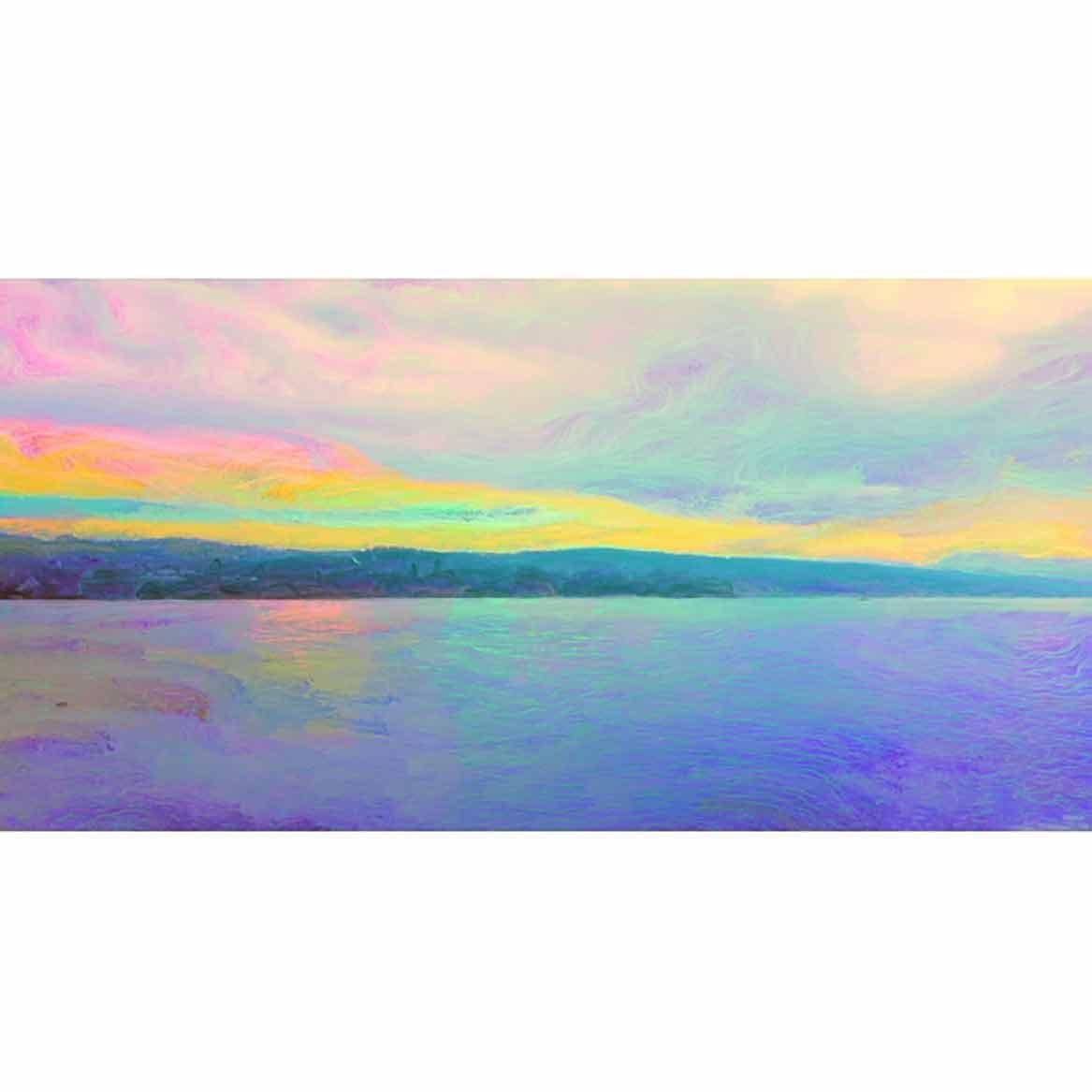 Leinwandbild vom Zürichsee 150 x 75 cm