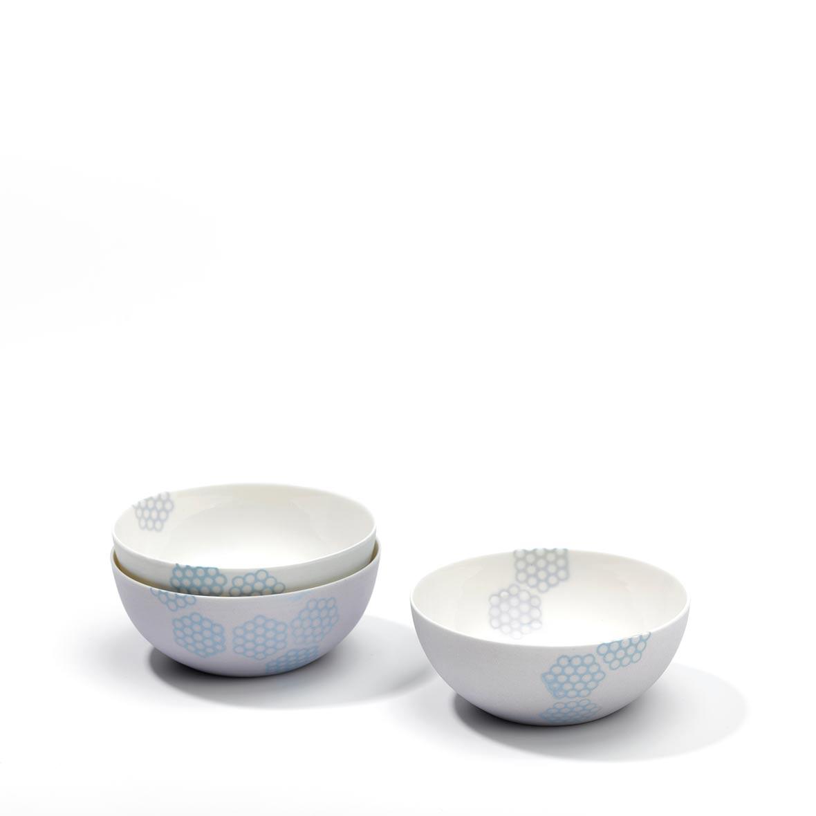 Teeschale - Porzellan - Wabenmuster - hellblau - helllila - grau