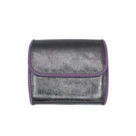 Portemonnaie CODES 179 - Farbe anthrazit métalisé - Bordüre lila - innen orange